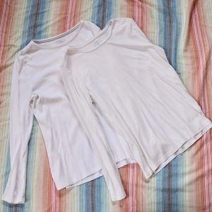 Talbot's White Long Sleeve Shirt Set of 2